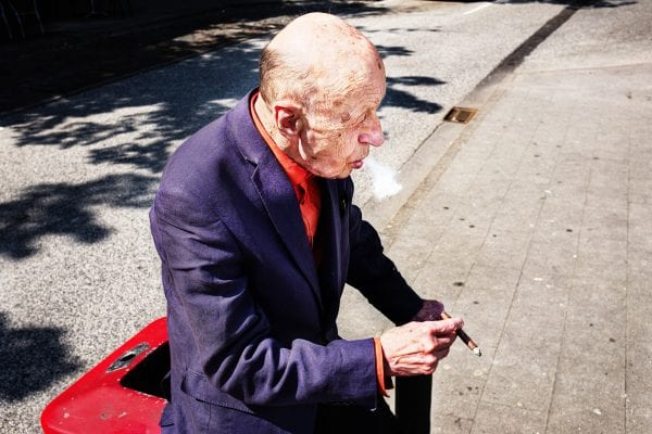 old man portrait street photography, colorful, by Manuel Armenis