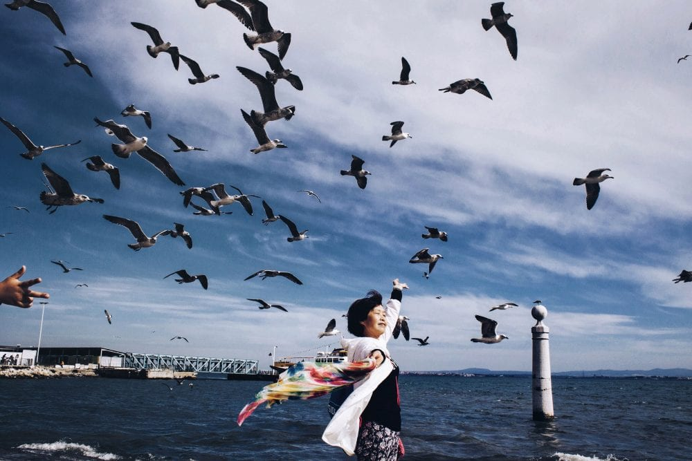 woman with birds, street photography of a person, by efi logginou