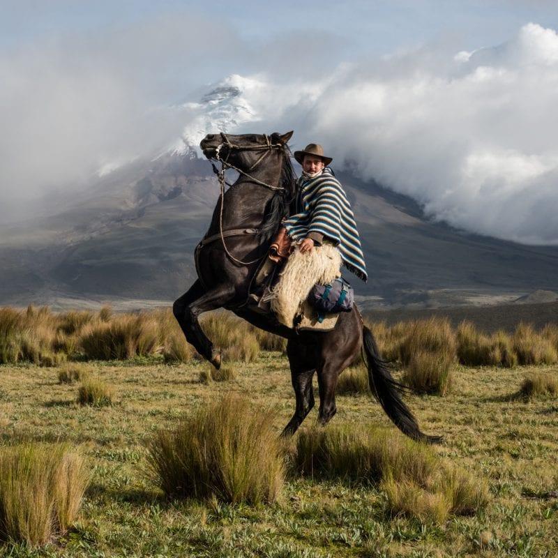 牛仔骑马的彩色照片