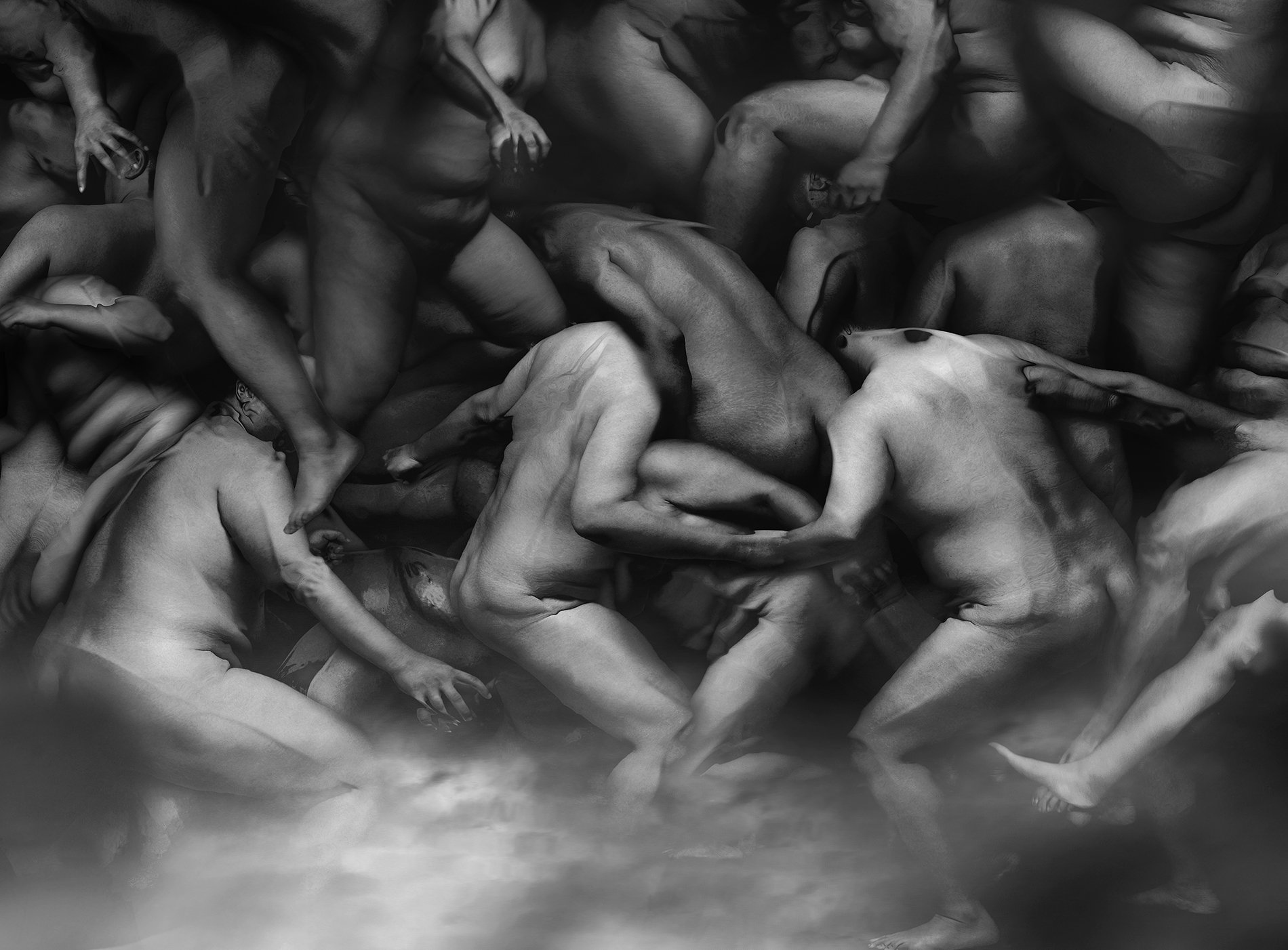 black and white photography of human bodies on a dark background by Korean Photographer Dongwook Lee