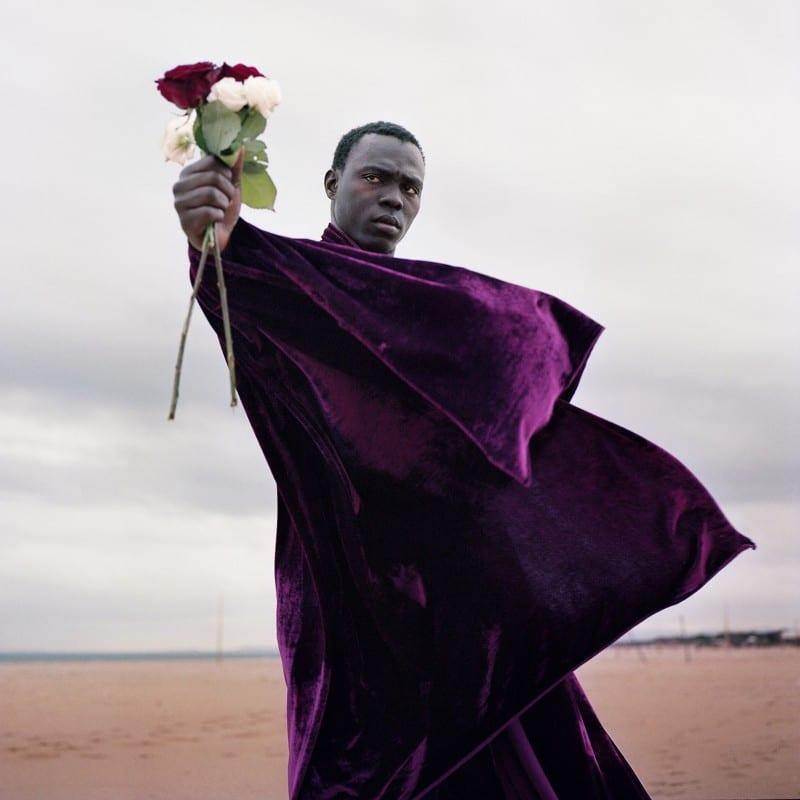 男子在沙滩上捧着一朵花,在2015年迁徙到欧洲的彩色摄影2016