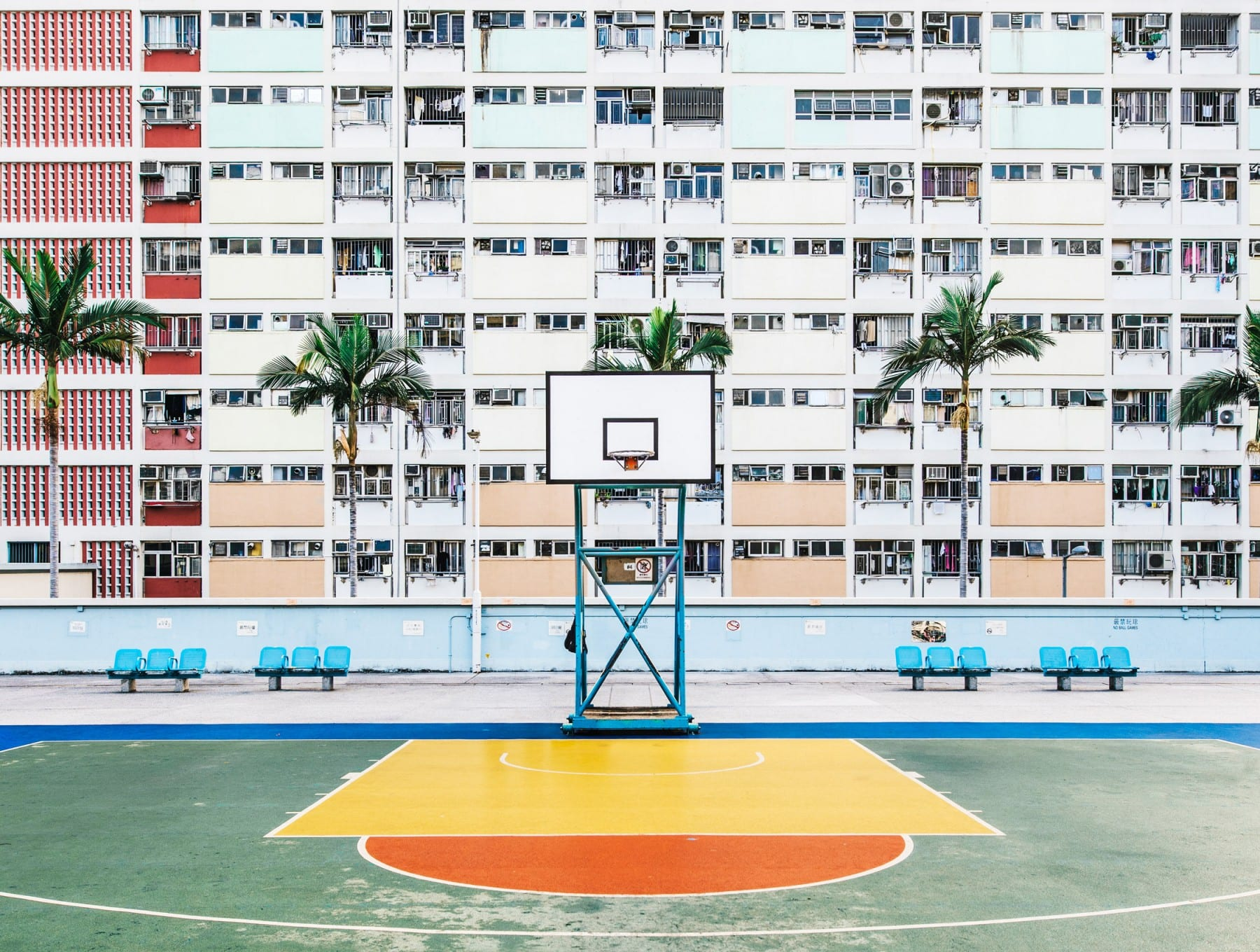 Hong Kong basketball court color photography by guillaume dutreix