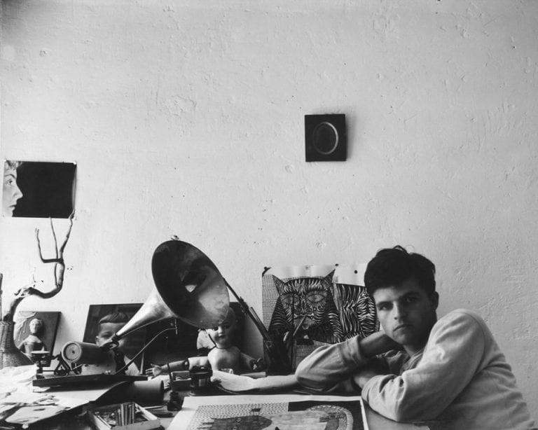 Guy Bourdin Self-portrait in Man Ray's studio, Paris, 1953 Black and white photography
