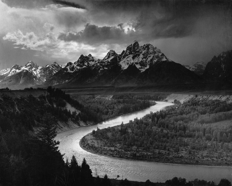 Geschichte der Landschaftsfotografie Die Tetons und der Snake River Wyoming 1942 von Ansel Adams