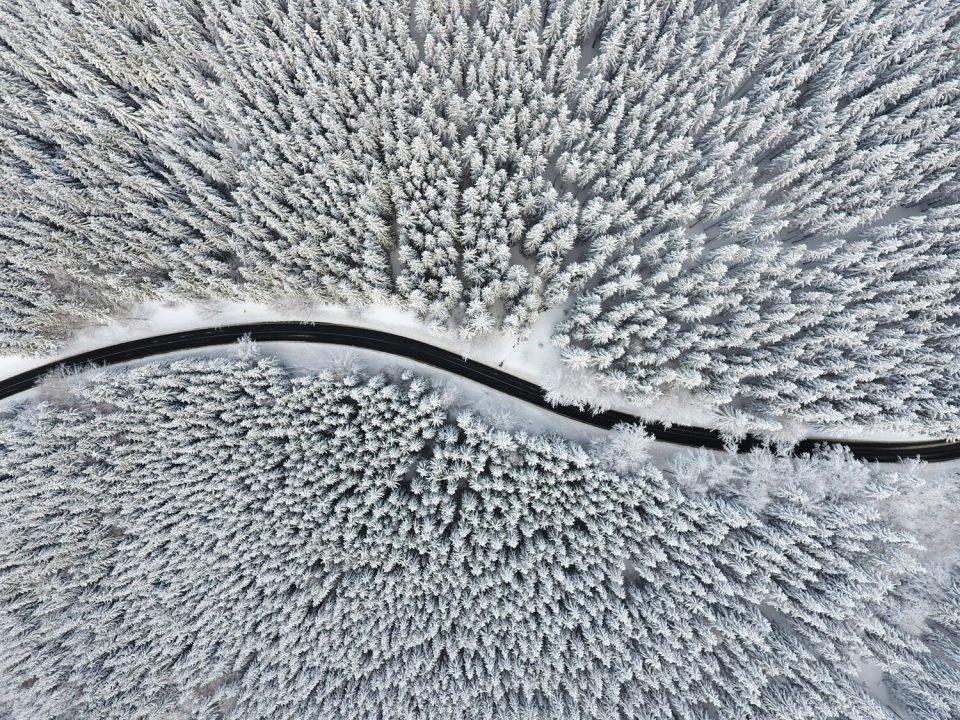 Landschaftsfotografie, Schneewald und Straße