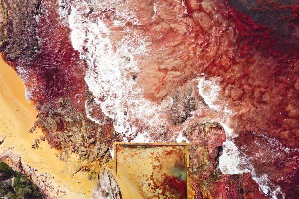 paesaggio aereo girato sulla costa meridionale del New South Wales, Australia