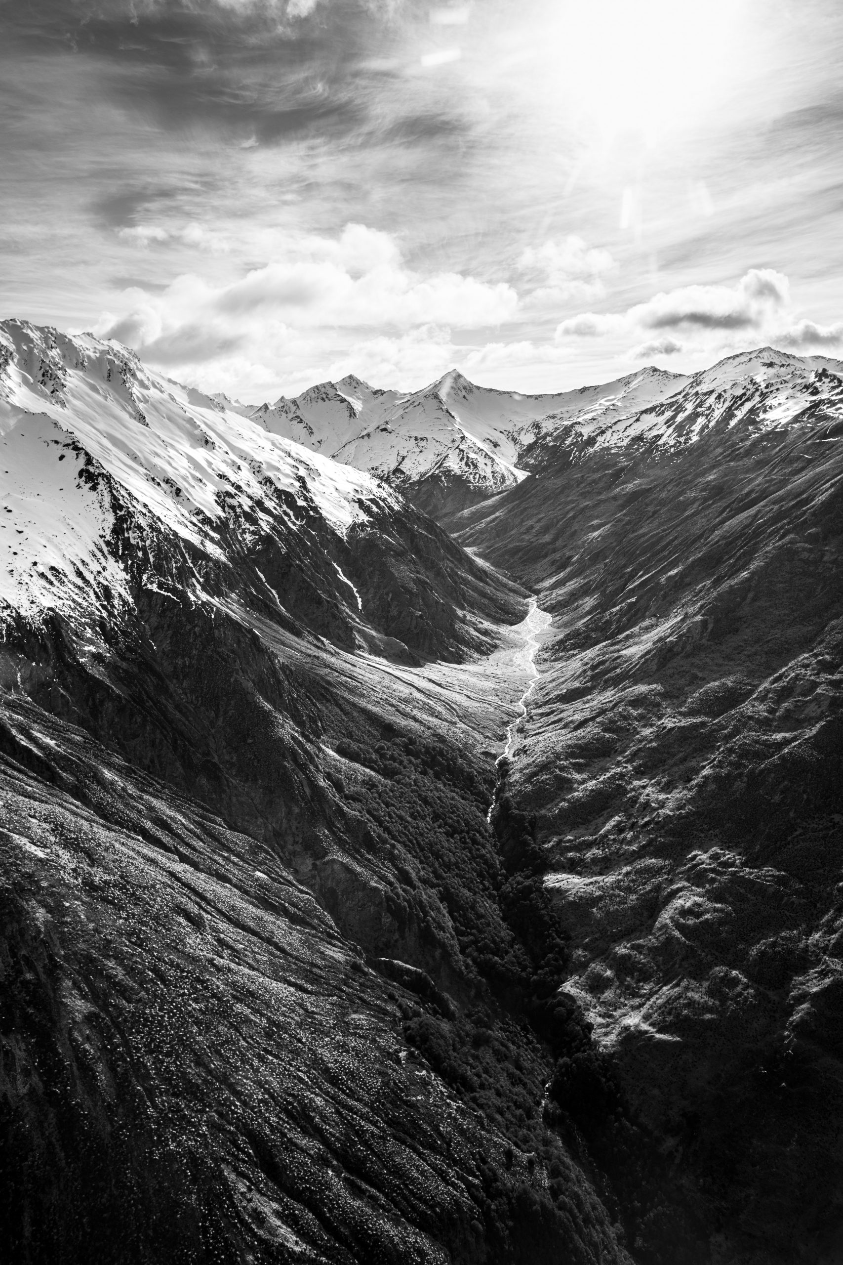Black & white fotografia, paesaggio, aereo, montagne, Nuova Zelanda
