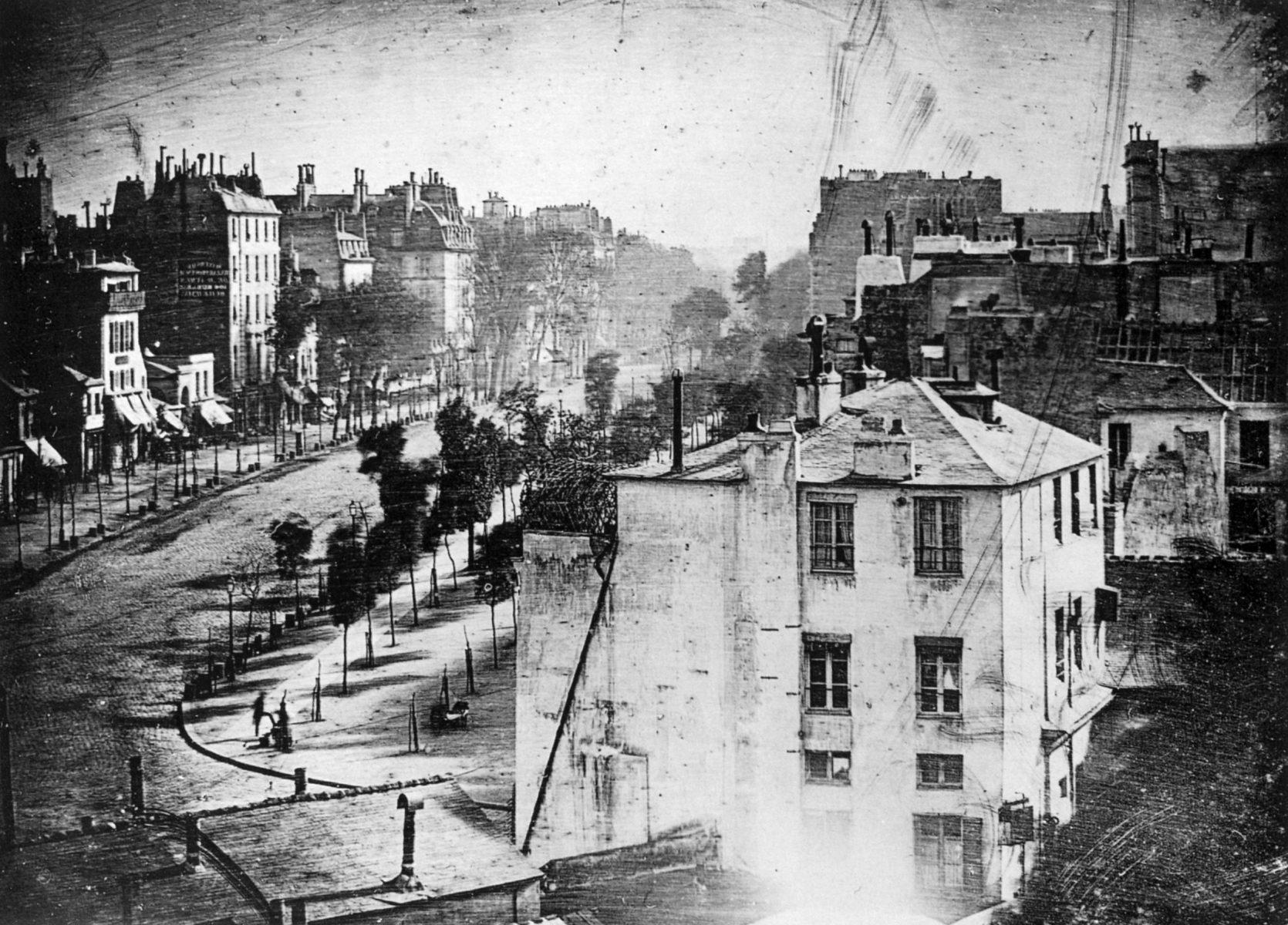 Frühe Daguerreotypie-Fotografie von Louis Daguerre, Boulevard Du Temple, Paris 1838