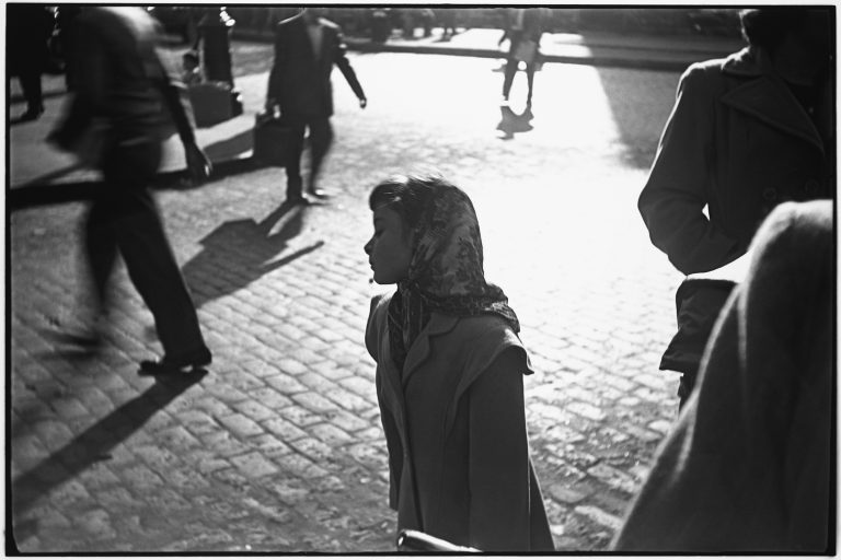 Black and white photography by Saul Leiter, girl in headscarf, streets, shadows