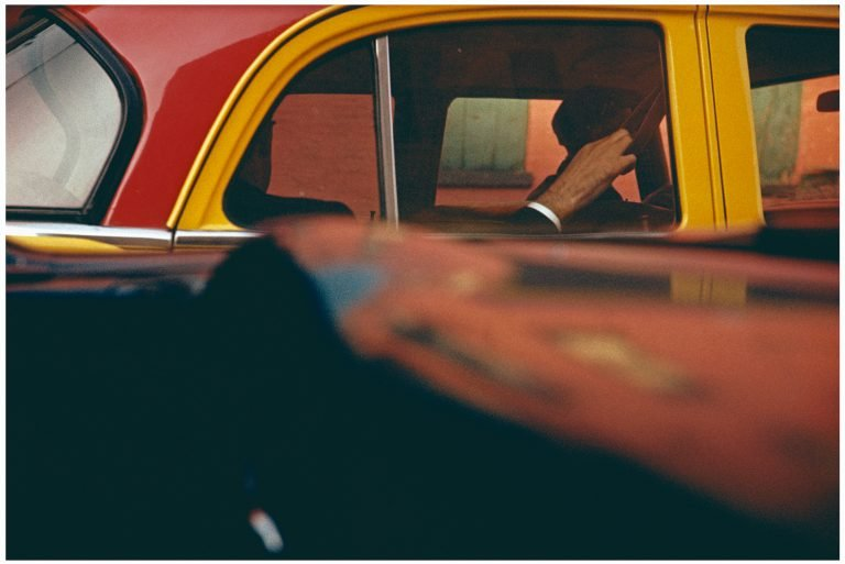 Color photo by Saul Leiter, Taxi, NYC, 1957