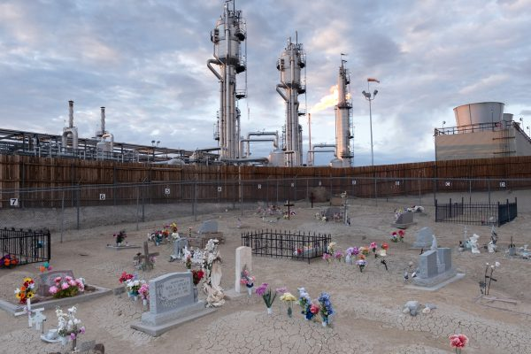 color landscape photograph of a cemetery and refinery in New Mexico, USA - Visual Storytelling Award