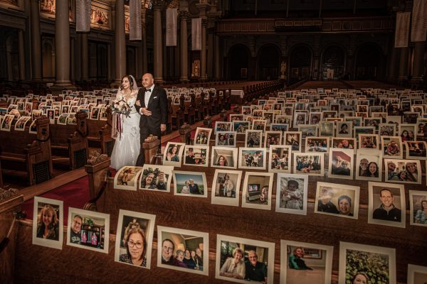 Color photograph of a father and daughter in an empty church during wedding in corona virus pandemic - Visual Storytelling Award