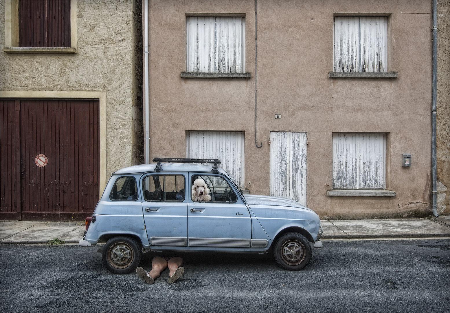 street color photograph of a car and dog shot in Dordogne, France by Marcel van Balken